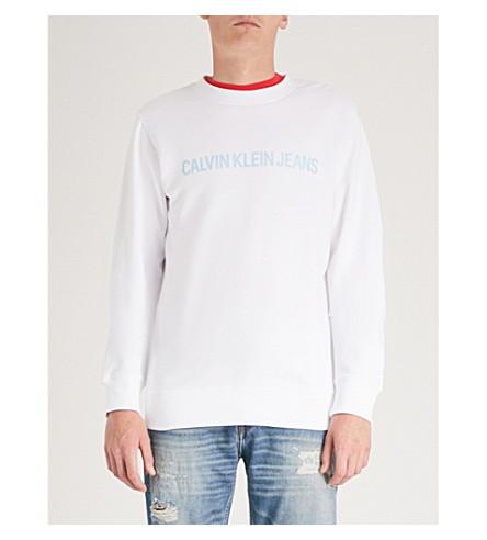 de brillante blanco brillante institucional de jersey algodón JEANS CK Sudadera v8fwqTxE