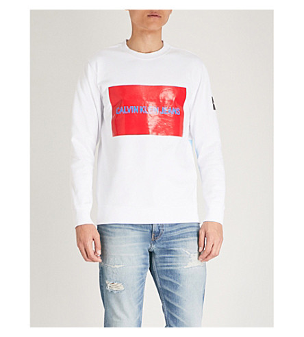 CK JEANS Multi-patch cotton-fleece sweatshirt (Bright+white+/+tomato
