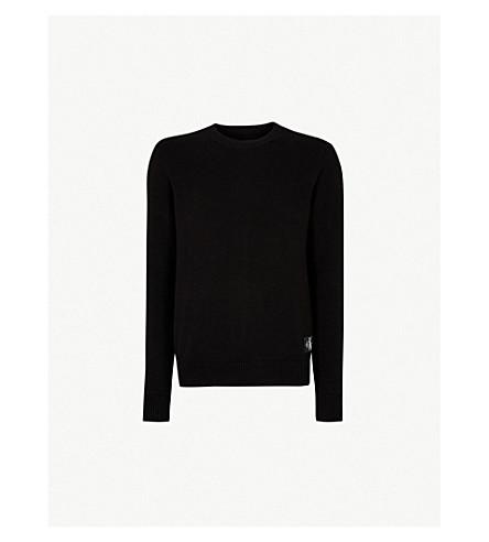 CK JEANS徽标补丁棉毛衣 (Ck + 黑色