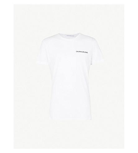 CK JEANS徽标打印平纹针织棉 T 恤 (亮 + wwhite