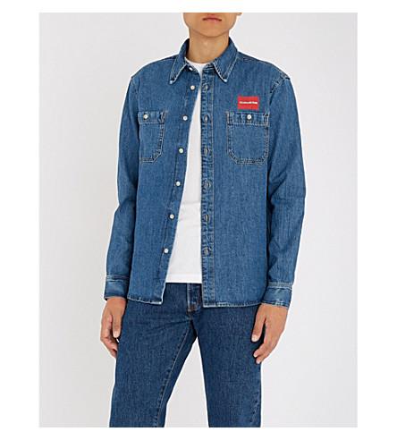 CK JEANS徽标印花牛仔衬衫 (丹麦 + 蓝色)