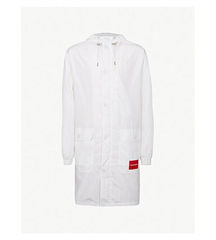 CK JEANS徽标打印软壳面料大衣 (亮 + wwhite