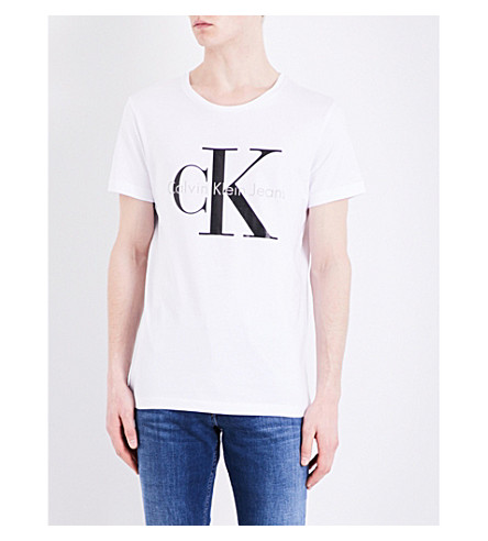 CALVIN KLEIN Logo-print cotton-jersey T-shirt (Bright+white