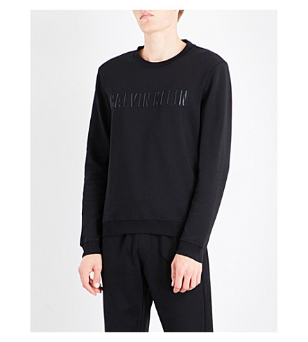 CALVIN KLEIN Kaem logo-embroidered cotton-blend sweatshirt (Black