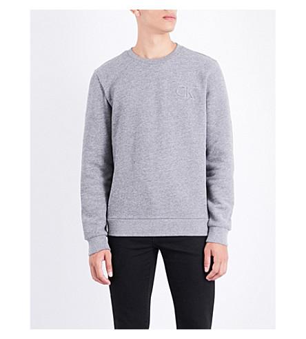 CALVIN KLEIN Kapler embossed-logo cotton-fleece sweatshirt (Grey