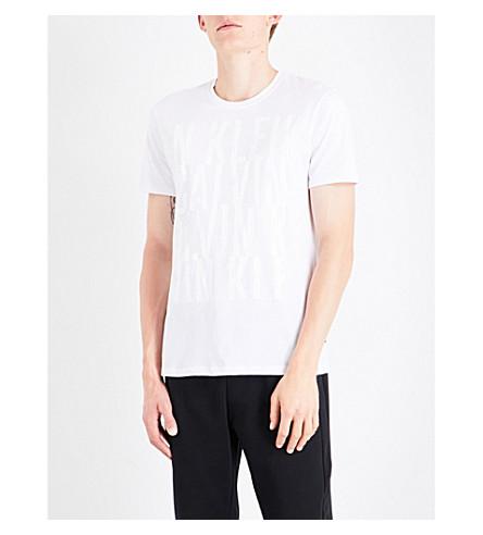 CALVIN KLEIN Jasker logo-embroidered cotton-jersey T-shirt (White