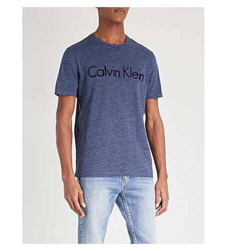 CALVIN KLEIN 徽标打印拉伸-棉 T 恤 (高温 + 蓝色