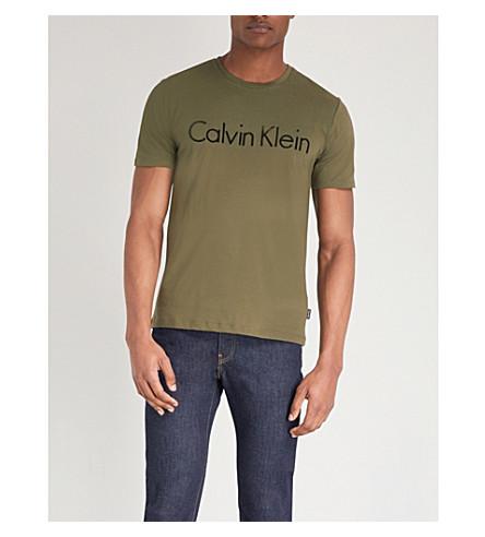 CALVIN KLEIN Jalo cotton-jersey T-shirt (Olive