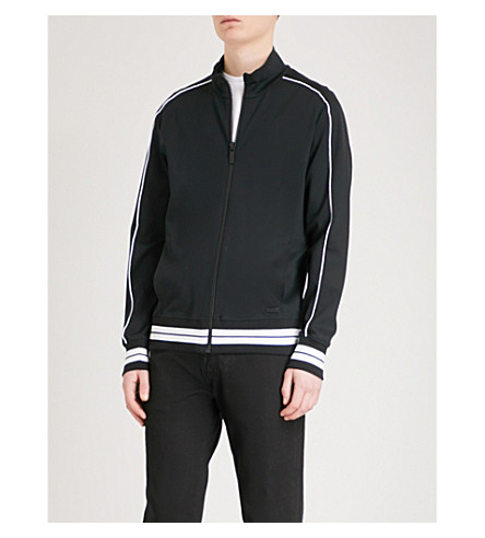 CALVIN KLEIN Striped-trim stretch-jersey jacket (Black