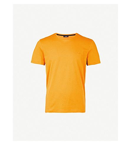 CALVIN KLEIN 杰瑞标志浮雕平纹针织棉 T 恤 (棕色