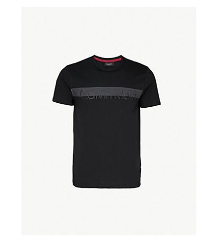 CALVIN KLEIN Jalot 标志打印平纹针织棉 T 恤 (黑色