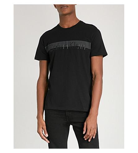 CALVIN KLEIN Jalot logo-print cotton-jersey T-shirt (Black
