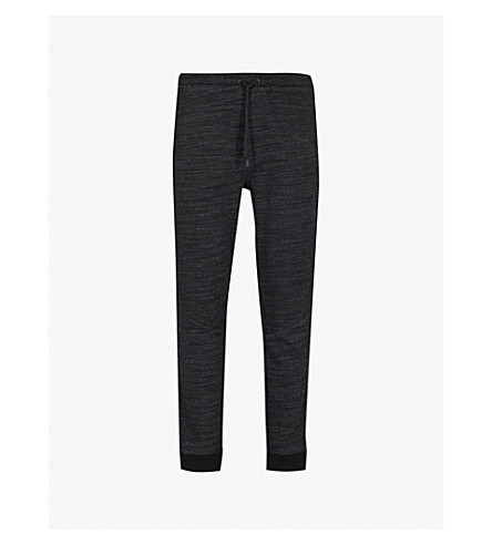 CALVIN KLEIN Side-stripe cotton-blend jogging bottoms (Black