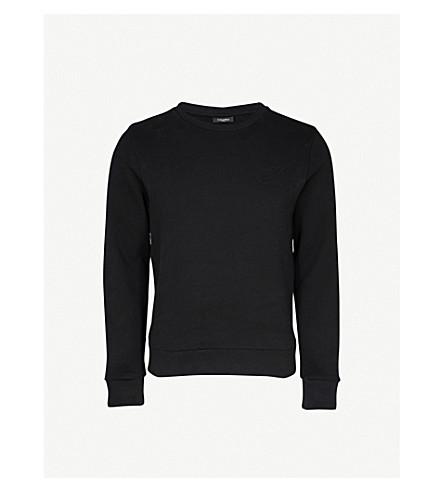 CALVIN KLEIN Kapler logo-embossed cotton-jersey sweatshirt (Black