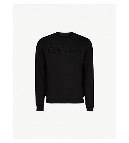 CALVIN KLEIN Kasma flocked-logo cotton-jersey sweatshirt (Black