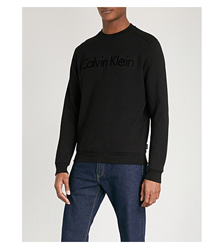 CALVIN KLEIN Kasma flocked-logo cotton-jersey sweatshirt (Black