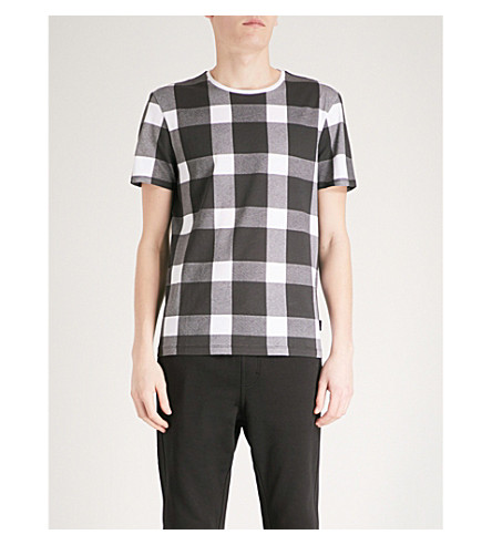 CALVIN KLEIN Jaron checked cotton-jersey T-shirt (White