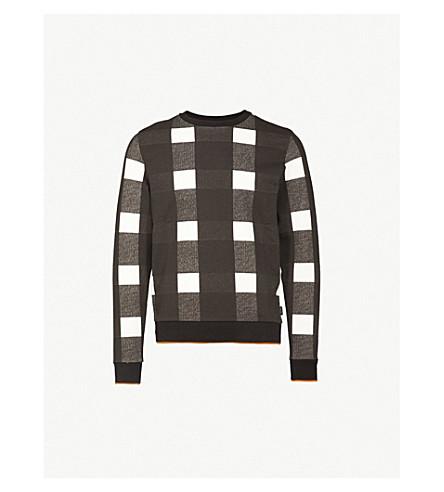 CALVIN KLEIN Kapsam checked cotton-jersey sweatshirt (Egret