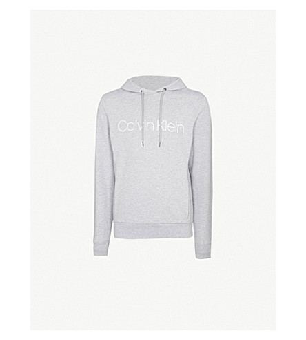 CALVIN KLEIN Logo-print cotton-jersey hoody (Light+grey+htr