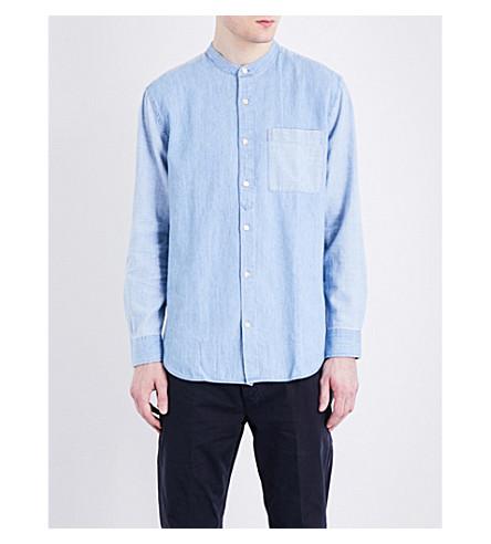 CLOSED Collarless denim shirt (Blue