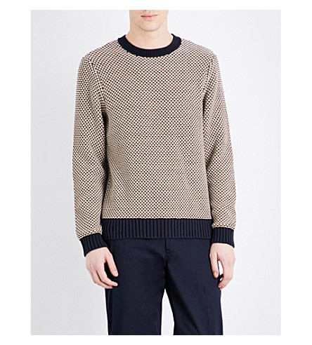CLOSED Honeycomb cotton-blend sweater (Navy
