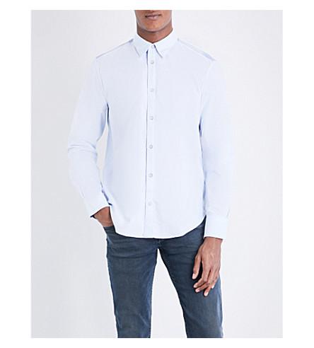 RAG & BONE Contrast panel slim-fit cotton shirt (Blue