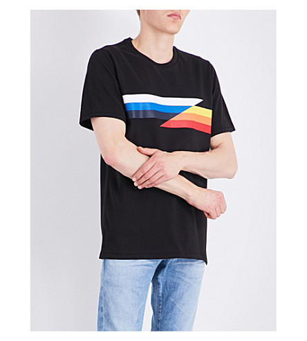 RAG & BONE Glitch stripe cotton-jersey T-shirt (Black