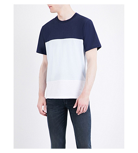RAG & BONE Colour Block cotton-jersey T-shirt (Blue/white