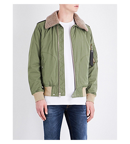 RAG & BONE Shearling-collar shell flight jacket (Army+green