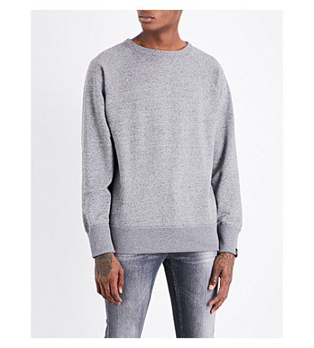 RAG & BONE Racer cotton-jersey sweatshirt (Grey+tweed