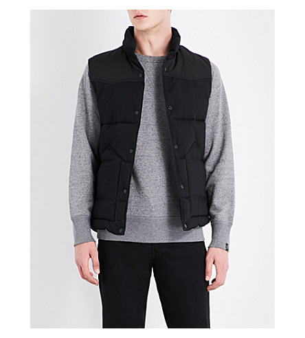 RAG & BONE Stand-collar quilted cotton gilet (Black