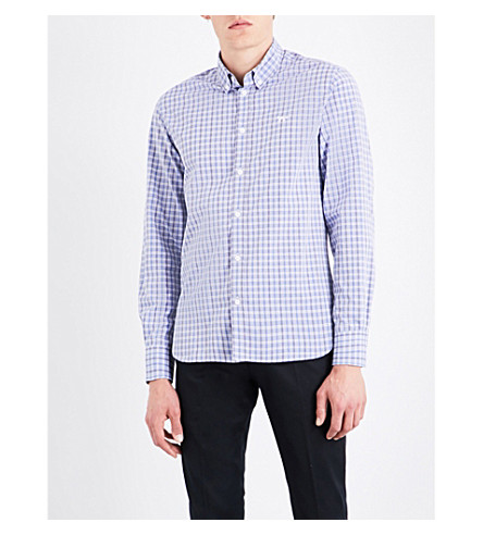 MAISON KITSUNE Regular-fit checked cotton shirt (Blue+check