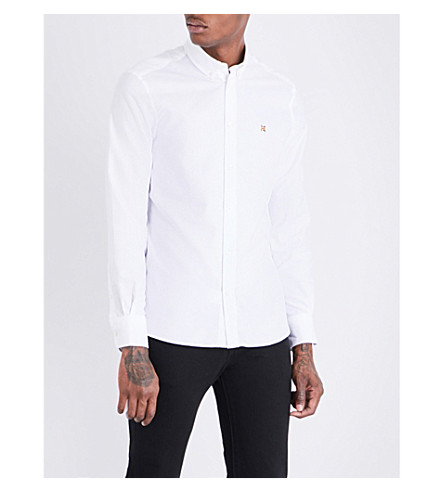 MAISON KITSUNE Fox-embroidered slim-fit cotton shirt (White