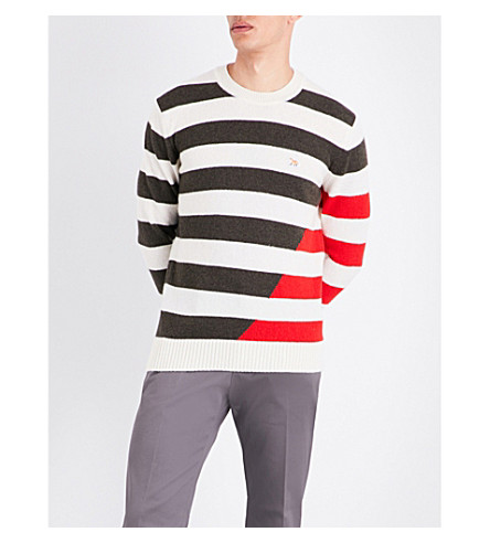 MAISON KITSUNE Striped wool jumper (Khaki/red
