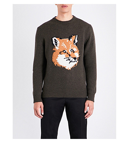 MAISON KITSUNE Fox head wool jumper (Khaki