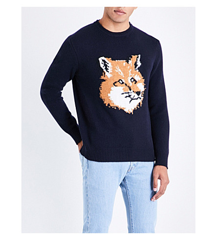 MAISON KITSUNE Fox head wool jumper (Navy