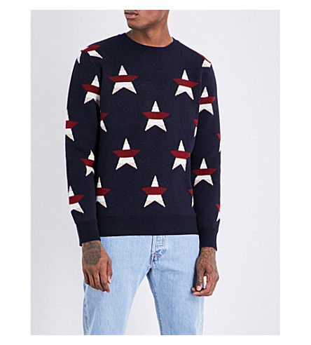 MAISON KITSUNE Star-pattern wool and cashmere jumper (Navy