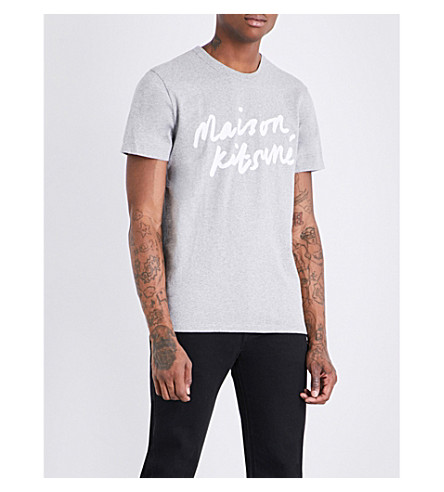 MAISON KITSUNE Handwriting logo-print cotton-jersey T-shirt (Grey+melange