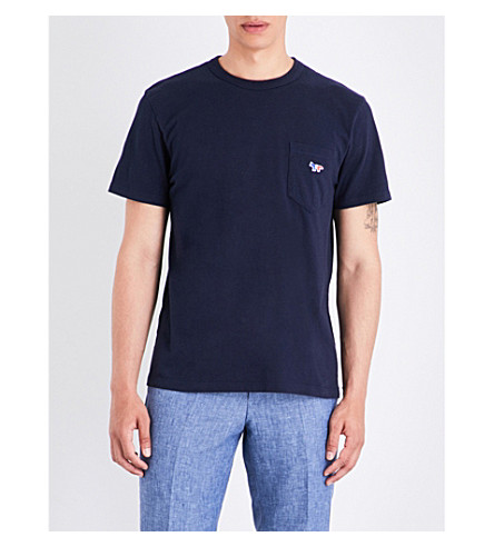 MAISON KITSUNE Fox-embroidered cotton-jersey T-shirt (Navy
