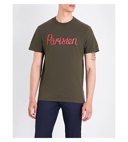MAISON KITSUNE Parisien cotton-jersey T-shirt (Khaki