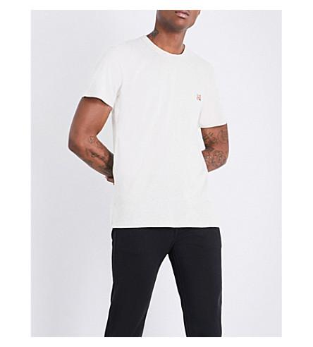 MAISON KITSUNE Fox-motif cotton-jersey T-shirt (Ecru+melange