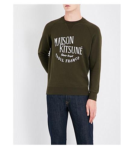 MAISON KITSUNE Crewneck cotton-jersey sweatshirt (Khaki