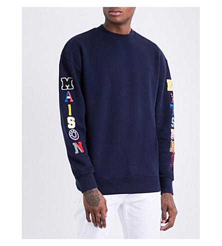 MAISON KITSUNE Brand-patch cotton-jersey sweatshirt (Navy