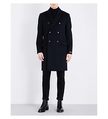 KENT & CURWEN Double-breasted brushed-wool coat (Navy