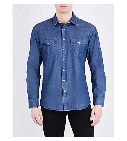 KENT & CURWEN Western long-sleeved denim shirt (Navy