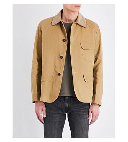 KENT & CURWEN Corduroy-collar cotton hunting jacket (Camel