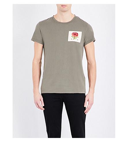 KENT & CURWEN Trashed Rose cotton-jersey T-shirt (Olive