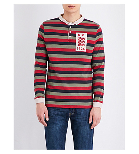 KENT & CURWEN Striped three-lions cotton-jersey rugby top (Blk/sage/dusty red