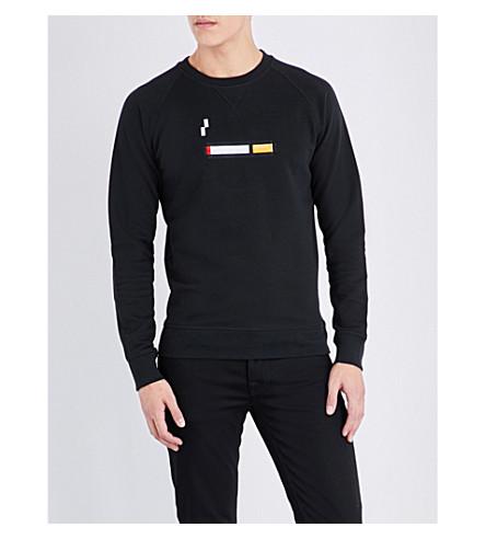 BRICKTOWN WORLD Cigarette-embroidered cotton-jersey sweatshirt (Black