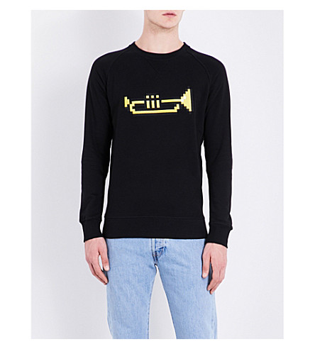 BRICKTOWN WORLD Trumpet-embroidered cotton-jersey sweatshirt (Black